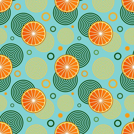 Seamless pattern with sprinkled oranges and simple geometric shapes in circles on a blue background. Summer theme with citrus fruits. Can be used for web, printing on fabrics and for creating banners