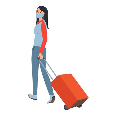 A woman with a valise in a medical mask. Travel infection protection. Coronavirus. Traveler at the airport. Flat style.