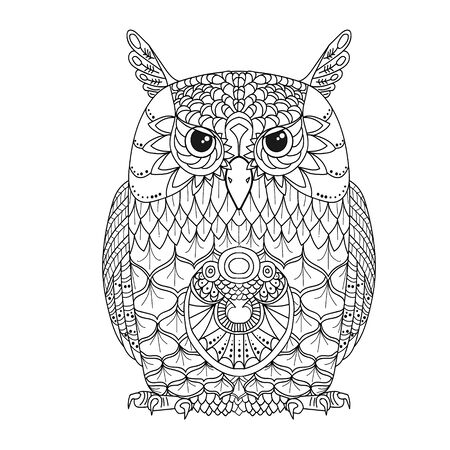 Line art. Abstract image of an monochrome owl. Coloring book. Isolated on white background. Vettoriali