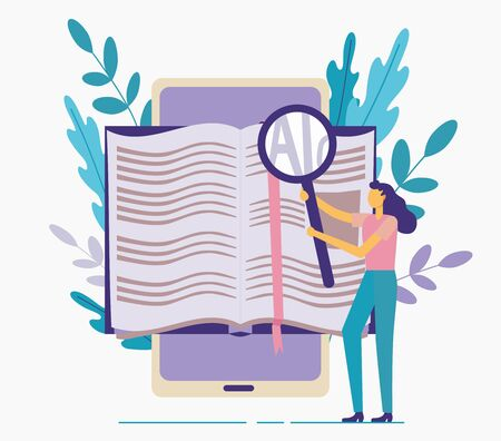 Book in the smartphone. Reading from the gadget. Gaining knowledge and leisure. Girl with a magnifying glass on a background of leaves. Flat illustration isolated on a white background.