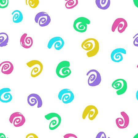 Ink curls. Multi colored drawing. Seamless pattern. Hand drawn spirals, snails on a white background
