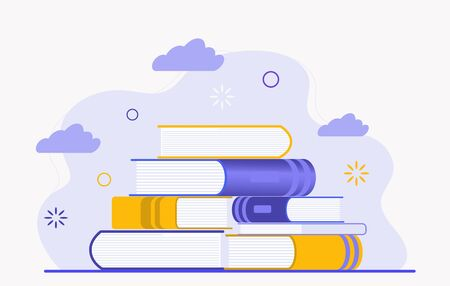 Stack of books. Reading literature, gaining knowledge and learning. Store e-books in the cloud. Flat illustration isolated on white background. Online library Illustration isolated on white background Illustration