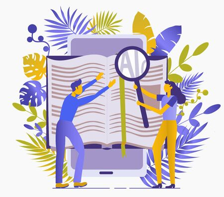 Conceptual flat illustration about reading books. Obtaining knowledge, rest, training, information. People read books with magnifying glass. Isolated on a white background. Tropical leaves