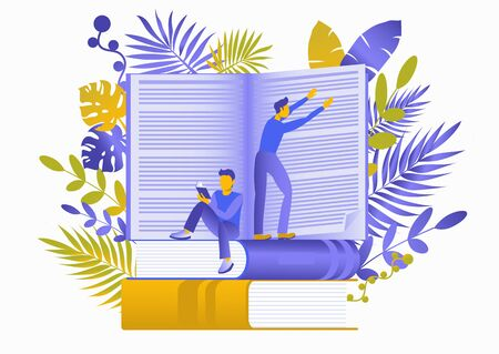 Conceptual flat illustration about reading books. Obtaining knowledge, rest, training, information. People read books, turn pages of literature. Isolated on a white background. Tropical leaves
