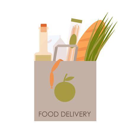 Paper bag with groceries. Home delivery food. Order products online home. Flat illustration isolated on a white background.