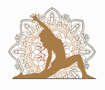 Yoga online. Sport at home. Silhouette of a girl on a background of mural Kalamkari. Can be used on the web to create business cards, banners and flyers. Illustration is isolated on a white background