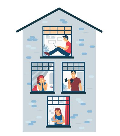 Stay at home. Quarantined life in isolation. The neighbors in the house are looking out the window. Conceptual flat illustration isolated on white background. Vecteurs
