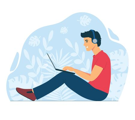 A man works with a laptop. Freelancer at work remotely. Chatting online with friends and colleagues. The guy is listening to music. Flat illustration isolated on a white background. Vektoros illusztráció