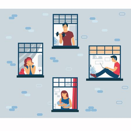 Stay at home. Life during isolation at home. Facade of a house with windows and people. Communication neighbors. Flat illustration Stock Illustratie