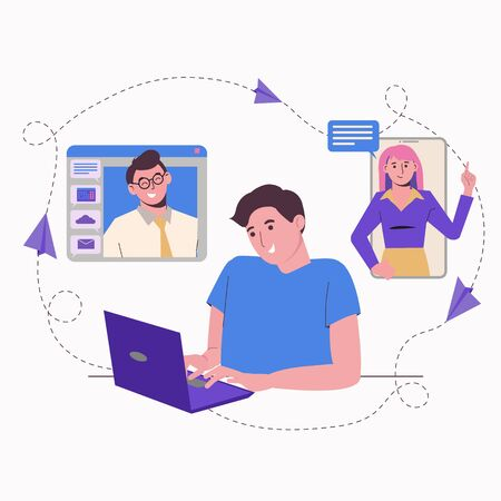 Remote work at home online. Freelance Freelancer man with a laptop. Communication with colleagues, assignments. Flat illustration isolated on a white background.