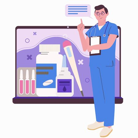 Online medical consultation. Health care. Doctor online and by phone. Mobile app. Conceptual flat illustration isolated on white background.