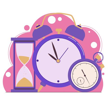Time management. Planning. Clock, hourglass, alarm clock and stopwatch. Web banner. Flat illustration isolated on a white background.