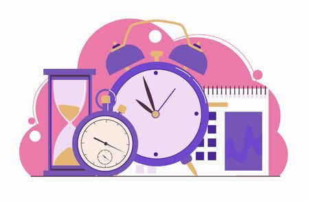 Time management. Planning. Clock, hourglass, alarm clock, calendar and stopwatch. Web banner. Flat illustration isolated on a white background.