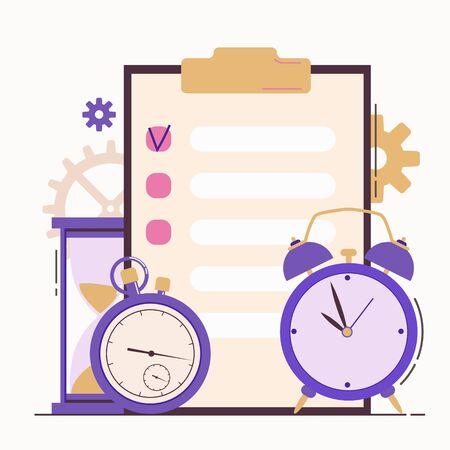 Self discipline flat concept illustration with time management elements. Vector illustration on white background. Illustration