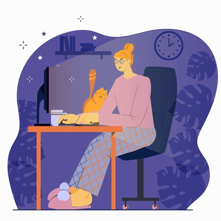 Freelancer working at night concept. A woman works until night at her desk at home. Flat design  illustration isolated on white background.