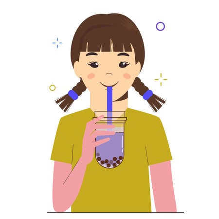 Young girl drinks bubble milk tea or pearl milk tea. Taiwanese famous and popular drink with tapioca black pearls. Flat cartoon illustration isolated on white background. Reklamní fotografie - 150625081