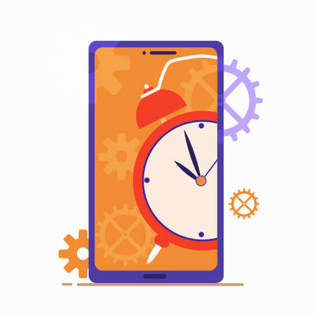 Time management concept. Planning and organization work. Can use for banner, mobile app, landing page. Vector flat illustration isolated on a white background.