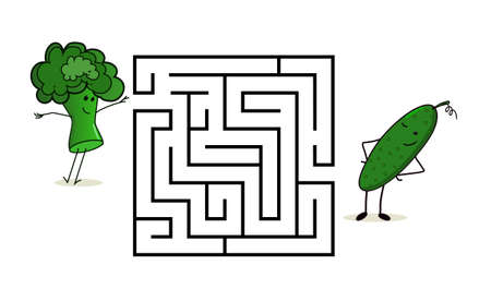 Square maze labyrinth with cartoon characters. Cute broccoli and cucumber. Interesting game for children. Worksheet for education. Illustration isolated on white background.