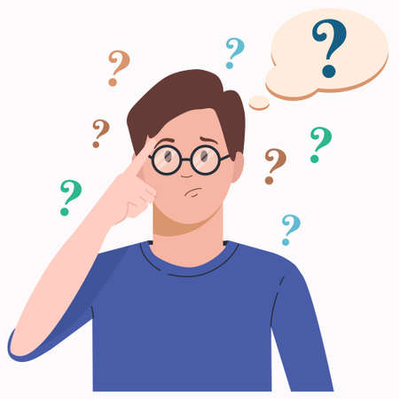 Portrait of young troubled man. Boy with question mark in think bubble. People thinking or solving problem. Dilemma vector flat cartoon concept illustration isolated on white background. Vettoriali