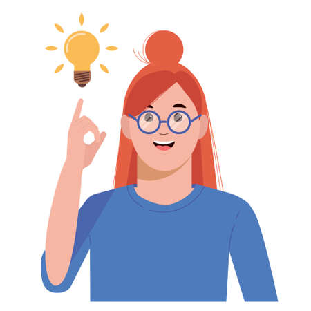 Problem solving concept. Woman thinks and solves a problem. A luminous bulb as symbol of the appearance of a creative idea. Cartoon flat illustration isolated on white background. Ilustração