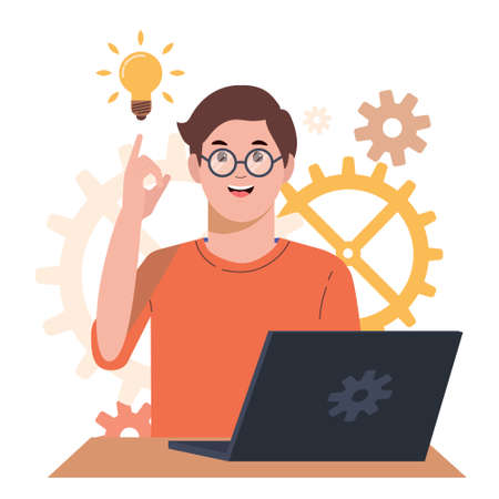 Problem solving concept. A man thinks and solves a problem. A boy with laptop. A luminous bulb as symbol of the appearance of a creative idea. Cartoon flat illustration isolated on white background.