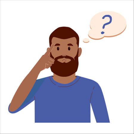 Portrait of young black beard man with question mark in think bubble. People thinking or solving problem. Dilemma vector flat cartoon concept illustration isolated on white background. Ilustração
