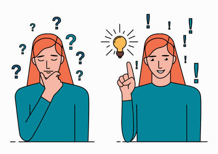 Problem solving concept. A woman thinks about a problem and finds a solution. A question mark and a light bulb are symbols of this process. Line art vector illustration isolated on white backgound. Vectores