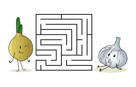 Square maze labyrinth with cartoon characters. Cute onion and garlic. Interesting game for children. Worksheet for education. Illustration isolated on white background.