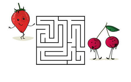 Square maze labyrinth with cartoon characters. Cute berries strawberries and cherries. Interesting game for children. Worksheet for education. Illustration isolated on white background.