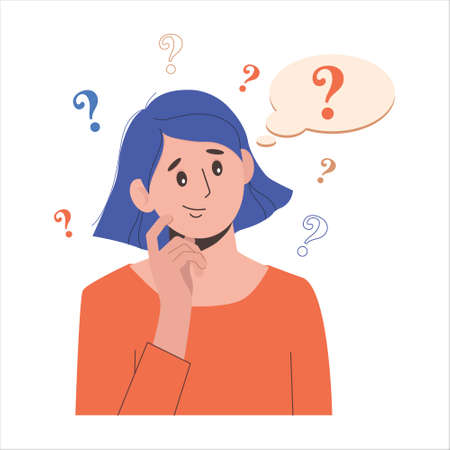 Portrait of young troubled woman. Girl with question mark in think bubble. People thinking or solving problem. Dilemma vector flat cartoon concept illustration isolated on white background.