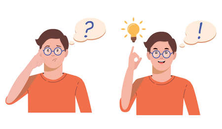 Problem solving concept. A man thinks and solves a problem. A question mark and a luminous bulb as symbols of the appearance of a creative idea. Cartoon flat illustration isolated on white background.