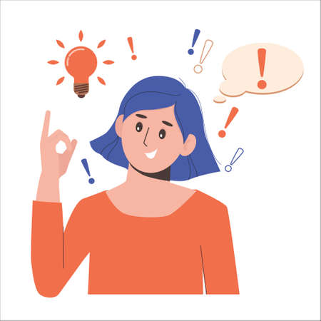 Problem solving concept. Woman thinks and solves a problem. A luminous bulb as symbol of the appearance of a creative idea. Cartoon flat illustration isolated on white background. Ilustração Vetorial