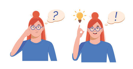 Problem solving concept. Woman thinks and solves a problem. A question mark and a luminous bulb as symbols of the appearance of a creative idea. Cartoon flat illustration isolated on white background.