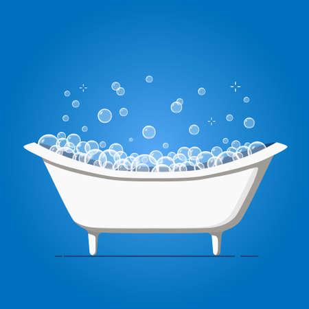 Bathtub with soap bubbles. Foam shower in bath on blue background. Vector illustration Vector Illustration