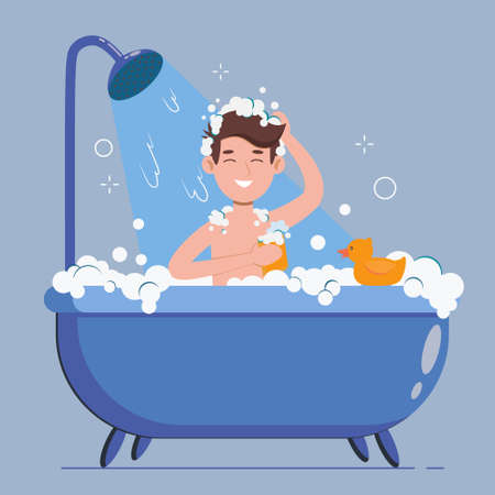 Man washes in the bathroom with rubber duck. He taking a shower with soap and sponge. Cartoon flat vector illustration isolated on violet background.
