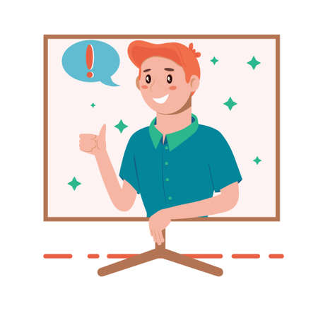 Problem solving concept. A man thinks and solves a problem. Appearance of a creative idea. Happy man shows gesture cool. Cartoon flat illustration isolated on white background.
