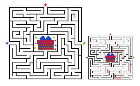 Square maze labyrinth game for kids. Labyrinth logic conundrum. Three entrance and one right way to go. Vector flat illustration isolated on white background. Illustration