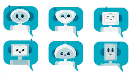 Set of smiling cute robot chat bots in speech bubble. Support service concept. Vector cartoon flat illustration isolated on white background.