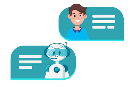 Chat bot concept. A man is chatting with a cute smiling robot. Communication and messaging. Dialog in speech bubble. Flat vector illustration isolated on white background.