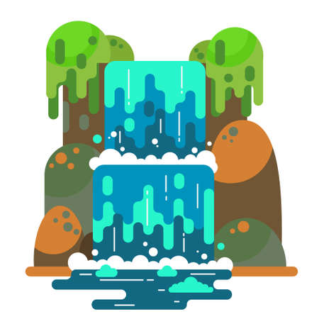 Waterfall landscape. Mountain river with cascade. Vector flat cartoon illustration isolated on white background. Vettoriali