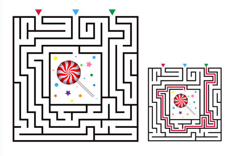 Square maze labyrinth game for kids. Labyrinth logic conundrum with candy. Three entrance and one right way to go. Vector flat illustration isolated on white background.