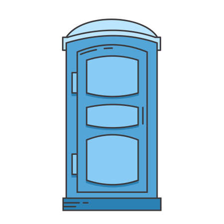 Mobile portable bio toilet icon. Front view. Blue plastic closet WC. Vector iIllustration isolated on white background.