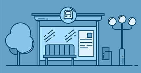 Bus stop vector line art colored illustration. Public transport station, bus terminal . Vector outline illustration on blue background.