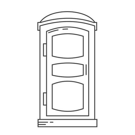 Mobile portable bio toilet outline icon. Front view. Blue plastic closet WC. Vector iIllustration isolated on white background.