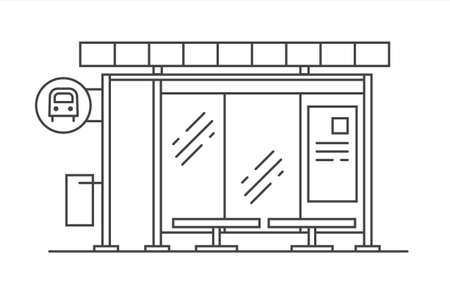 Bus stop vector line art illustration. Exit from the subway. Vector outline isolated illustration on white background