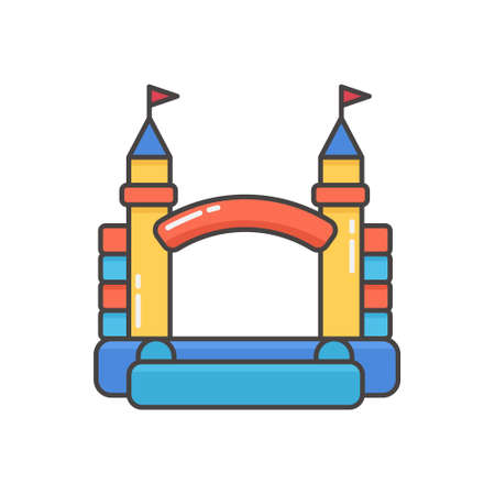 Bouncy inflatable castle. Tower and equipment for child playground. Vector line illustration isolated on white background.