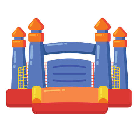 Bouncy inflatable castle. Tower and equipment for child playground. Vector flat cartoon illustration isolated on white background.