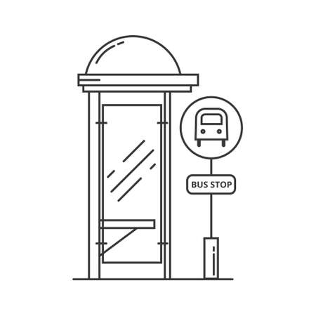 Bus stop vector line art illustration. Public transport station, bus terminal. Vector outline isolated illustration on white background 矢量图像