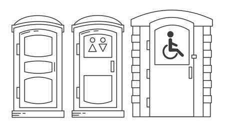 Mobile portable bio toilet. Toilet for disabled people. Set of outline icon. Front view. Blue plastic closet WC. Vector iIllustration isolated on white background.