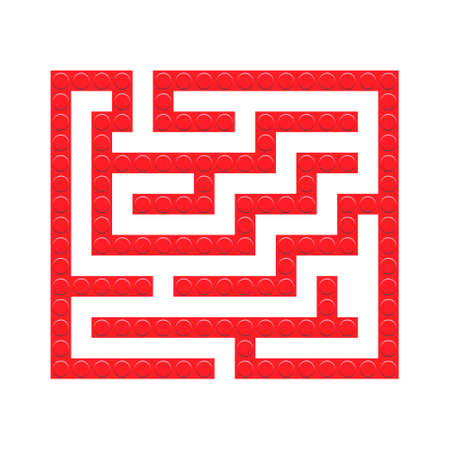 Square maze red bricks toy labyrinth game for kids. Labyrinth logic conundrum. One entrance and one right way to go. Vector bright flat illustration isolated on white background. 向量圖像